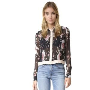 Alice + Olivia Sheer Pintuck Button Up Crop Blouse
